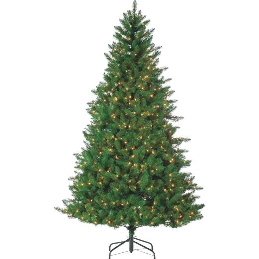 Gerson 7.5 Ft. Stone Pine 700-Bulb Clear LED Prelit Artificial Christmas Tree